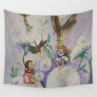 fireflies Wall Tapestries featuring Girls and Fireflies by SandraSueSteiner
