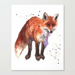 Fox painting, watercolor fox, animal art, wildlife, animals in clothes, fox wearing a tie Canvas Print
