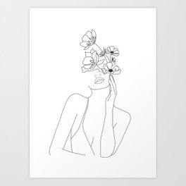 Minimal Line Art Woman with Flowers Art Print