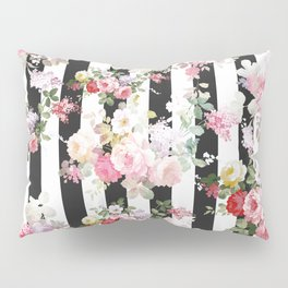 Bold pink watercolor roses floral black white stripes Pillow Sham
