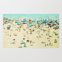 carnival Area & Throw Rugs featuring Coney Island Beach by Mina Teslaru