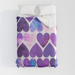 Mod Purple & Blue Grungy Hearts Design Duvet Cover