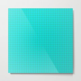 Turquoise Sea Green Houndstooth Pattern Metal Print