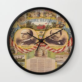 Mc. Kinley and Hobart Presidential Elections Vintage Poster 1896 Wall Clock