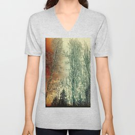 Autumn Poplars, Sunlight Dreaming About You Unisex V-Neck