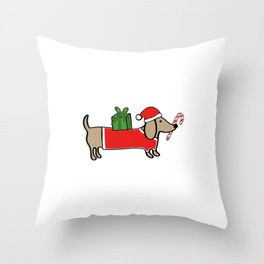 Christmas dachshund Throw Pillow