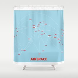Air route and airport hub Airspace map Shower Curtain
