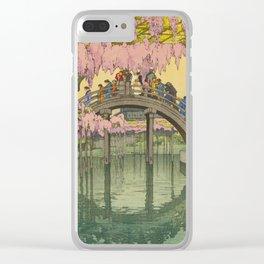 Kameido Bridge Hiroshi Yoshida Vintage Japanese Woodblock Print Clear iPhone Case
