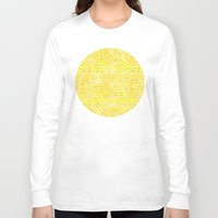 yellow pattern Long Sleeve T-shirts featuring Yellow Chevron Pattern by Aloke Design