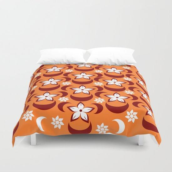 Orange floral fantasy Duvet Cover