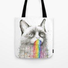 Grumpy Rainbow Cat Watercolor Animal Meme Geek Art Tote Bag