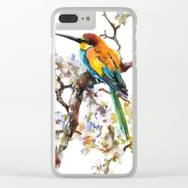 Bee Eater and Apricot Blossom Clear iPhone Case