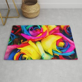 Modern multicolor artistic abstract roses flowers pattern Rug
