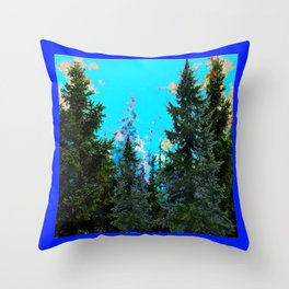 WESTERN PINE TREES LANDSCAPE IN BLUE Throw Pillow