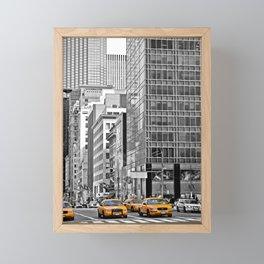 NYC - Yellow Cabs - Police Car Framed Mini Art Print