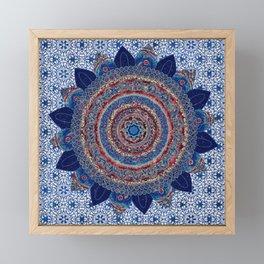 Baroque Lapis Mandala Framed Mini Art Print