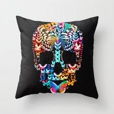 Cranium Butterflies (Black & Color Option) Throw Pillow
