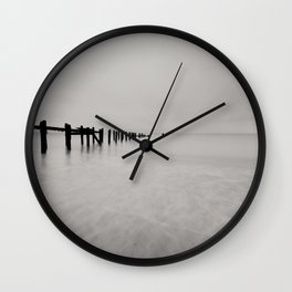 black and white untitled ocean Wall Clock