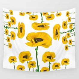 YELLOW POPPIES FLOWER ON WHITE Wall Tapestry