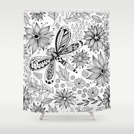 Dragonfly and flowers doodle Shower Curtain
