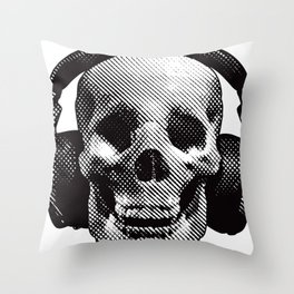 Hipster Skull Listening to Music on Headphones Throw Pillow
