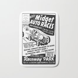 Midget Auto Races, Race poster, vintage poster, bw Bath Mat