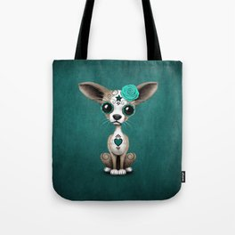 Blue Day of the Dead Sugar Skull Chihuahua Puppy Tote Bag