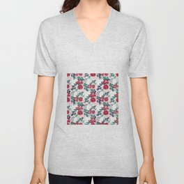 Cute Rose Pink Peonies Watercolor Paint Gold Dots Design Unisex V-Neck