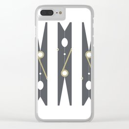 Clothespin Sign, Dark Grey Clear iPhone Case