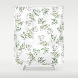 Jasmine Flower Illustration Shower Curtain