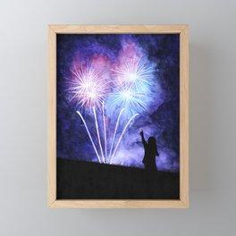 Blue and pink fireworks Framed Mini Art Print