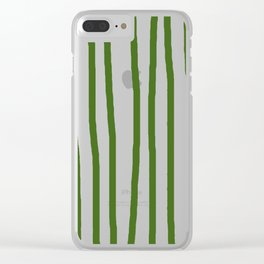 Simply Drawn Vertical Stripes in Jungle Green Clear iPhone Case