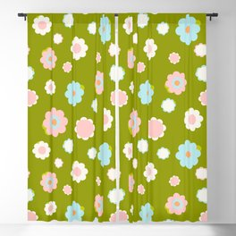 White, blue and pink flowers over green background Blackout Curtain