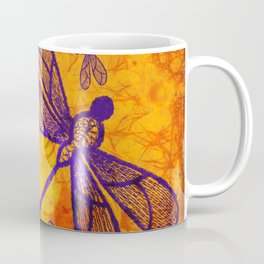 Navy-blue embroidered dragonflies on textured vivid orange background Coffee Mug