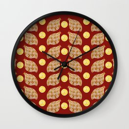 Glod guinea fowl pattern on brown Wall Clock