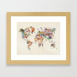 world map watercolor Gerahmter Kunstdruck