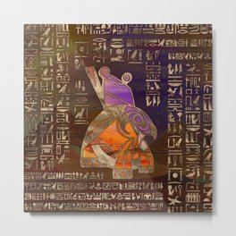 Egyptian Horus Mixed Media Digital Art Metal Print