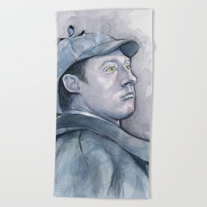 Data as Sherlock Holmes Watercolor TNG Portrait Beach Towel