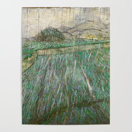 Vincent Van Gogh Wheat Field In Rain Poster