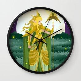 blonde nature guardian fantasy elf woman Wall Clock