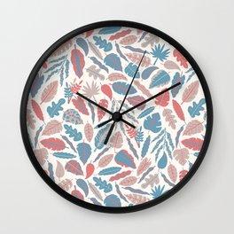 spencer leaf floral purple pink blue rainbow Wall Clock
