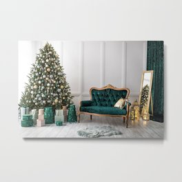 Photos Christmas New Year tree Room present Interi Metal Print