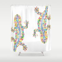 lizard Shower Curtains featuring Barcelona Lizard by XOOXOO