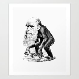 Charles Darwin As An Ape Art Print