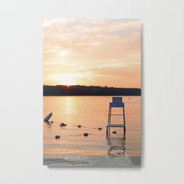 Summer Sunset Over Lake Metal Print