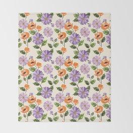 Rustic orange lavender ivory floral illustration Throw Blanket