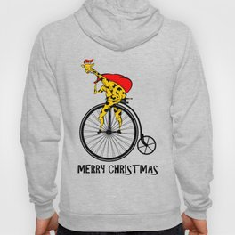 Giraffe on a bike Santa Claus Hoody