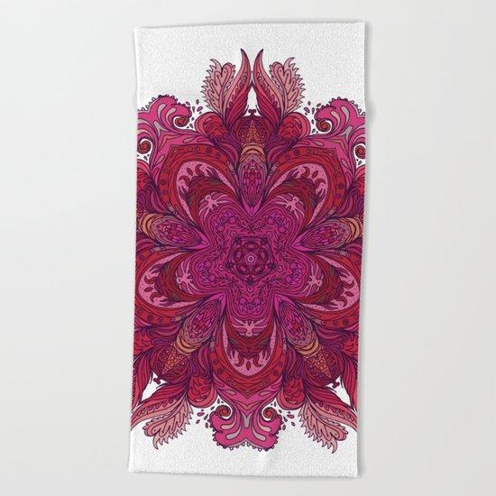 Pink Indian Mandala Beach Towel