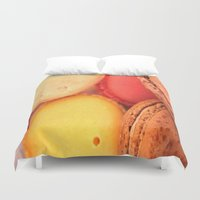 macaroons Duvet Covers featuring Macaroons by alexarayy