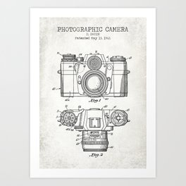 Photographic Camera Old patent Art Print